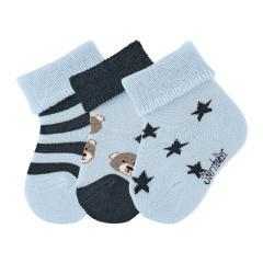 """Baby Jungen Babysöckchen 3er-Set Plüsch Socken """"Teddy Sterne"""", hellblau - 8401920"""