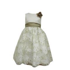 Festkleid Blumen Mädchen festliches Kleid, beige
