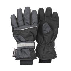Jungen Fingerhandschuh Thermo-Handschuh mit reflektierendem Klettverschluss wasserdicht, schwarz - 4321810-590