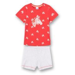 """Mädchen kurzer Schlafanzug 100% Baumwolle """"Pferd"""", rot/hellgrau – 232615"""