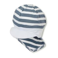 Jungen Baby Sommermütze mit Schirm und Nackenschutz, Piratentuch, UV-Schutz 50+, blau weiß - 1501920