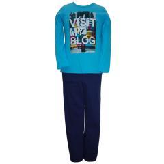 Mädchen Schlafanzug langarm, blau