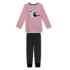 Mädchen Schlafanzug lang mit Helloween Motiv, schwarz-pink - 232216