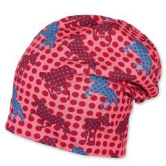 Mädchen Baby Wintermütze Baumwollmütze Winterbeanie mit Baumwollfleece-Futter gepunktet Pferde, koralle - 4411905
