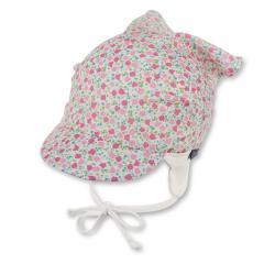 """Mädchen Baby Kopftuch zum Binden mit Schirm, Ohrenschutz """"Blumen-Allover"""", rosa-beige – 1452012"""