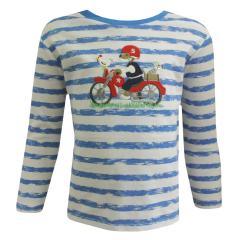 Langarmshirt Baby Jungen kurzarm gestreift Motorradaufnäher, blau - 73211121