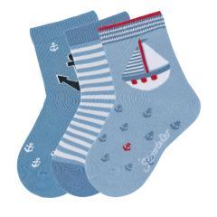 """Jungen Baby 3 Paar Söckchen Socken 3er-Pack """"Segelboot"""", himmelblau - 8322020"""