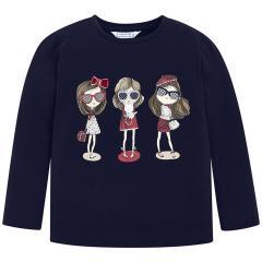 Mädchen Shirt mit langen Armen, dunkelblau - 4.070db