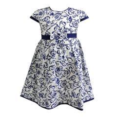 Mädchen Kleid Ornamente gemustert, weiß-blau - 73120294