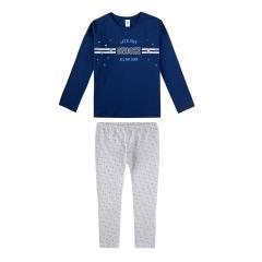 Sanetta Mädchen Schlafanzug Langarm Snooze dunkelblau/gemustert - 244549