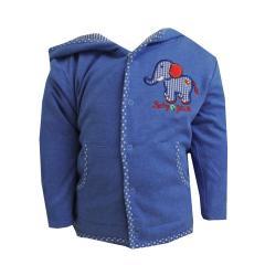 Baby Jungen Jacke Jäckchen mit Elefantmotiv, dunkelblau