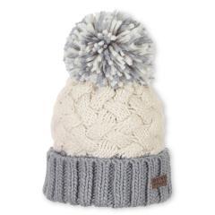 Mädchen Wintermütze Strickmütze mit großer Bommel und Microfleece-Einsatz, beige grau - 4721920