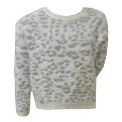 Sweater Pullover Mädchen, weiß-grau