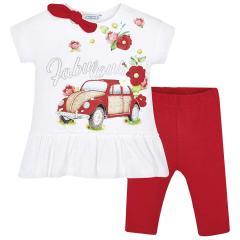 Mädchen Set T-Shirt Leggins, weiß rot Blumen Auto - 3.509