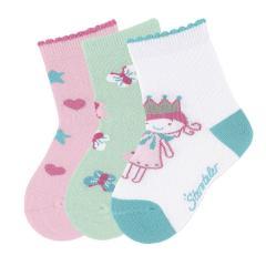 Mädchen Socken 3er-Pack, weiß rosa grün Schmetterling Prinzessin Herz - 8321923