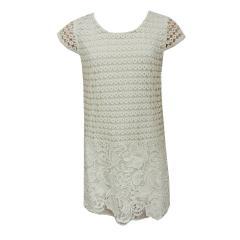 Festliches Kleid Mädchen gemustert mit Spitze, weiß