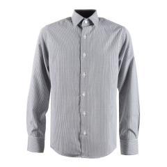Festliches Langarmhemd Slim-Fit gestreift Jungen, schwarz