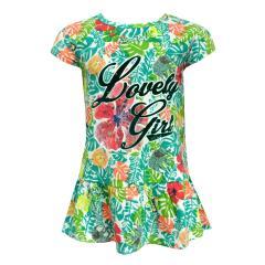 Baby Mädchen Kleid kurzarm gemustert, grün - 243076