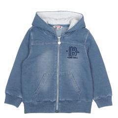 Boboli Jungen Jacke mit Kapuze einfarbig, jeans -  517249
