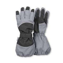 Jungen Stulpen-Fingerhandschuhe gefüttert wasserdicht mit Klett, silbergrau - 4321820
