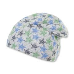 """Jungen Kinder Baby Mütze LSF UV-Schutz 50+ Sommermütze Beanie Baumwollmütze """"Sterne"""", blau, silbergrau – 1502010"""