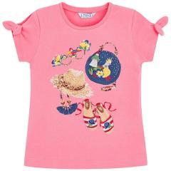 Mayoral Mädchen T-Shirt kurzarm mit süßem Motiv und Schleifen, pink - 3009p