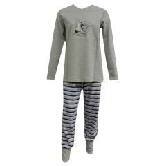 Mädchen Schlafanzug langarm Schlittschuhe, grau-meliert - 153834