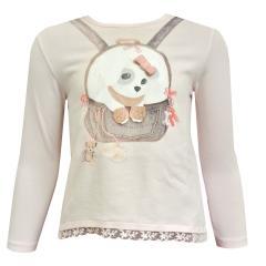 T-Shirt langarm mit Hund für Baby Mädchen, rosa