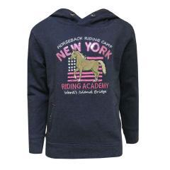 Sweater Pullover mit Kapuze Mädchen Pferde-Motiv, blau
