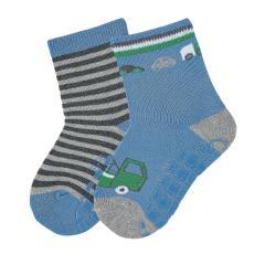 """Jungen Anti-Rutsch-Socken 2 Paar ABS-Söckchen Doppelpack """"Abschleppauto/gestreift"""", samtblau - 8002020"""
