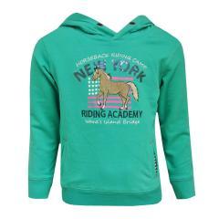 Sweater Pullover mit Kapuze Mädchen Pferde-Motiv, grün