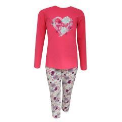 Mädchen Langarm Schlafanzug Blumen und Herz Musterung, rosa - 243771