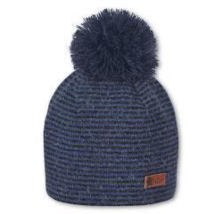 Baby Jungen Beanie Mütze Wintermütze Strickmütze gefüttert mit Bommel, blau schwarz- 4611901