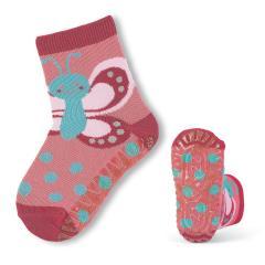 Mädchen Anti-Rutsch-Socken Fliesenflitzer Schmetterling, rot - 8021806