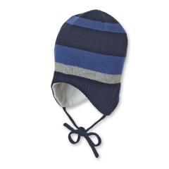 Baby Jungen Mütze Strickmütze zum binden mit Ohrenschutz, gefüttert von Sterntaler, blau - 4701740