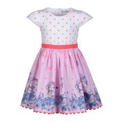 Mädchen Festkleid Sommer Kleid mit Hund und Blümchen, rosa - 901346