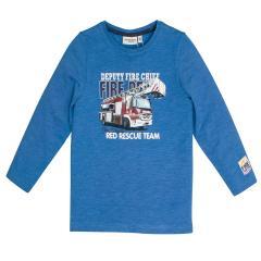 Salt&Pepper Jungen T-shirt langarm mit Feuerwehr-Motiv, blau – 93111152