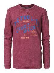Jungen T-Shirt Langarmshirt Petrol-Druck, rot - B-SS17-TLR602r