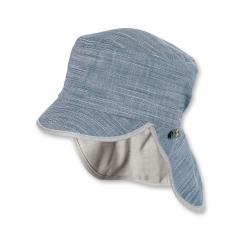 """Jungen Kinder Mütze LSF UV-Schutz 50+ Sommermütze Schirmmütze mit Nackenschutz """"meliert"""", marineblau-hellgrau – 1622012"""