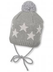 Baby Jungen Mütze Strickmütze zum binden mit Bommel und Sternen, gefüttert von Sterntaler, grau - 4701708