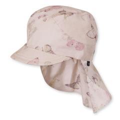 Sommermütze Schirmmütze mit Nackenschutz Mädchen Schmetterlinge, lachs - 1421723