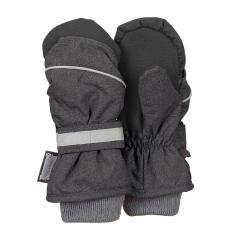 Jungen Fäustlinge Handschuhe wasserdicht mit reflektierendem Klettverschluss einfarbig und verstärkten Handflächen, anthrazit mel. - 4321803