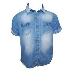 Jungen Hemd kurzarm jeanslook, hellblau