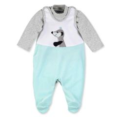 Baby Jungen Strampler Waschbär Elvis, Grau - 5601622
