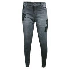 Mädchen Jeans Hose mit Blumenstickerei, schwarz - 4.546s