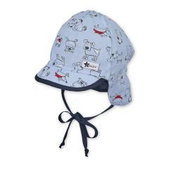 """Baby Jungen Schirmmütze zum Binden LSF UV-Schutz 15 Sommermütze Schildmütze mit Nackenschutz """"Hunde"""", himmelblau – 1602032"""