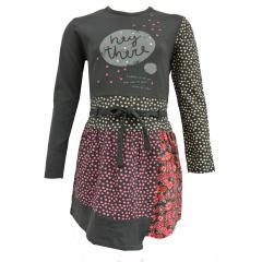 Mädchen langarm Kleid gepunktet, grau - 404042