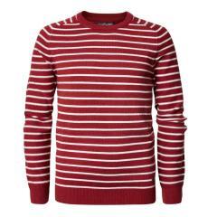 Jungen Pullover Jersey Strickpullover Langarmshirt mit Streifen, rot - B-PS19-KWR282r