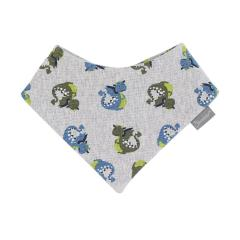 """Baby Jungen Dreieckstuch aus Baumwolle 2-lagig wasserundurchlässig mit Klettverschluss gemustert """"Drache"""", hellgrau – 4102007"""