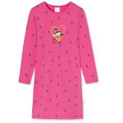 """Mädchen Nachthemd sleepshirt langarm mit niedlichen """"Eulen""""-Alloverprint """"HERZ HEXE""""Motiv und """"LITTLE WITCH""""-Schriftzug, pink - 175315"""